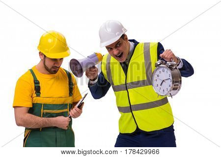 Two workers isolated on the white background