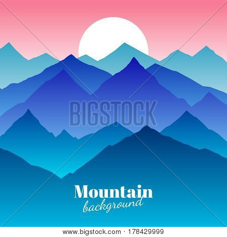 Nature abstract mountain landscape and sunset vector background. Mountain and sun, illustration of outdoor sky with sun and mountain