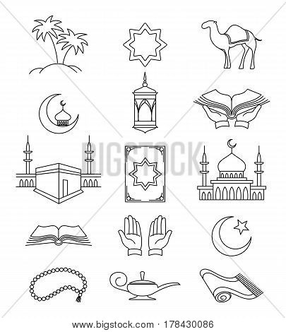 Vector muslim line signs and islamic linear icons for ramadan kareem isolated on white background