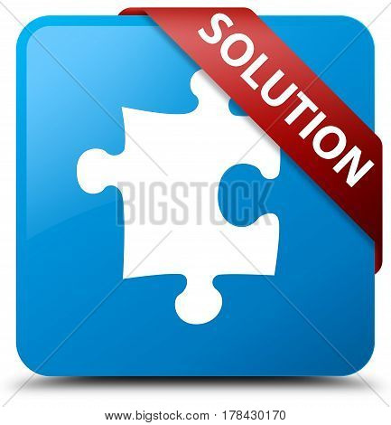 Solution (puzzle Icon) Cyan Blue Square Button Red Ribbon In Corner