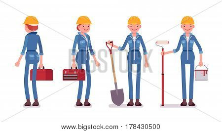 Set of female smiling professional worker in yellow protective hardhat, blue builder suit, holding red toolbox, painting roller, shovel, full length, front, rear view, isolated, white background