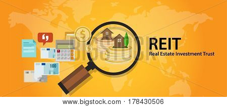 REIT Real Estate Investment Trust money for home finance transaction vector