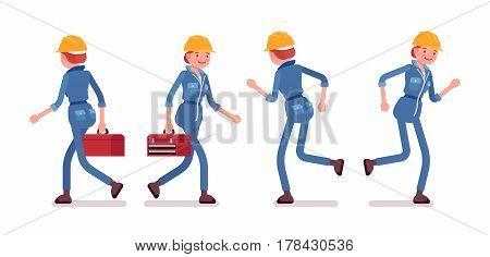 Set of female professional busy industrial service worker in running pose, wearing yellow protective hardhat, blue suit, holding red toolbox, full length, front, rear view, isolated, white background