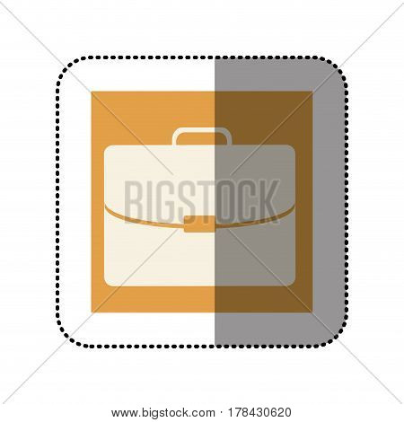 color sticker square with executive suitcase icon vector illustration