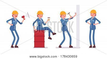 Set of female busy professional worker in yellow protective hardhat, blue builder suit, giving orders, sitting, relaxing with coffee at the metal barrel, hammering a nail, full length, isolated