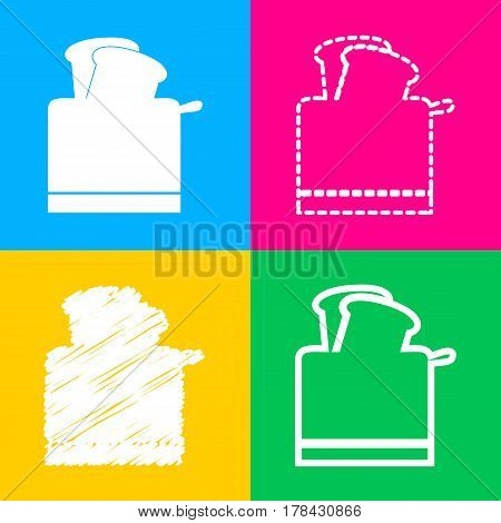 Toaster simple sign. Four styles of icon on four color squares.