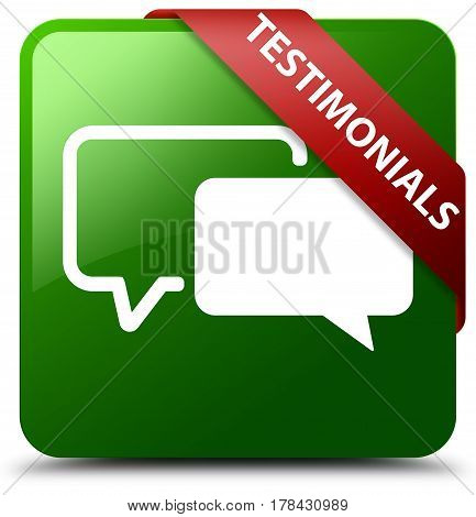 Testimonials Green Square Button Red Ribbon In Corner
