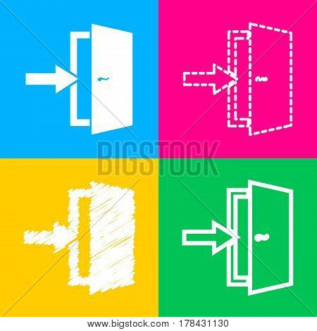 Door Exit sign. Four styles of icon on four color squares.