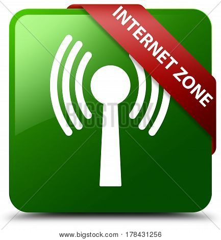 Internet Zone (wlan Network) Green Square Button Red Ribbon In Corner