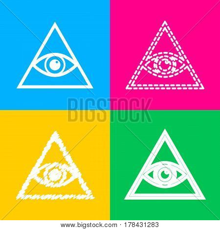 All seeing eye pyramid symbol. Freemason and spiritual. Four styles of icon on four color squares.