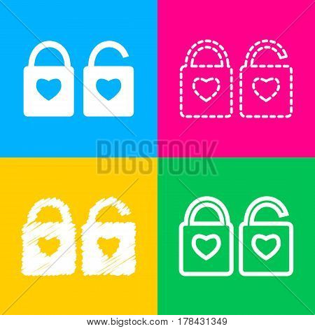 lock sign with heart shape. A simple silhouette of the lock. Shape of a heart. Four styles of icon on four color squares.