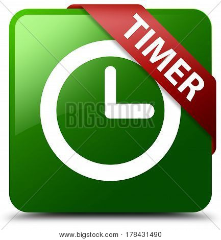 Timer Green Square Button Red Ribbon In Corner