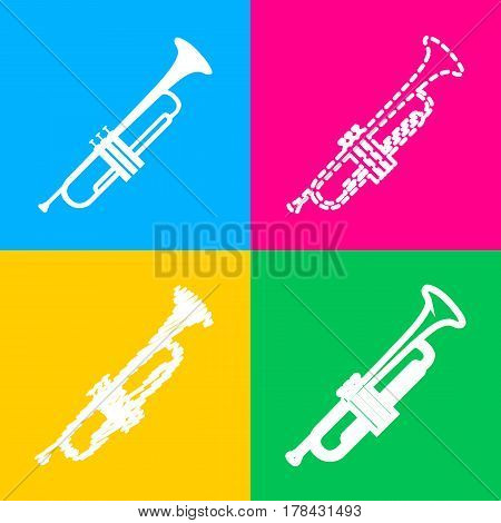 Musical instrument Trumpet sign. Four styles of icon on four color squares.