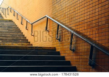 Underground passage stairs leading up on the street