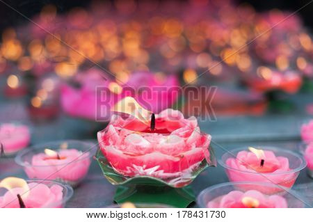 Lotus Candles In A Buddhist Temple