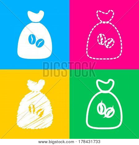 Coffee bag Icon. Coffee bag Vector. Coffee bag Icon Button. Four styles of icon on four color squares.