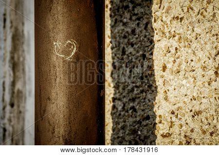A heart shape urban grafity on a steel pipe