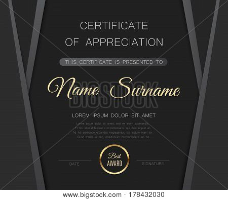 Beautiful certificate of achivement template. Gray matte diploma blank with golden seal. Vector illustration eps10