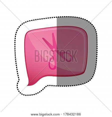 color sticker with scissors icon in square speech vector illustration