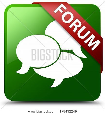 Forum (comments Icon) Green Square Button Red Ribbon In Corner