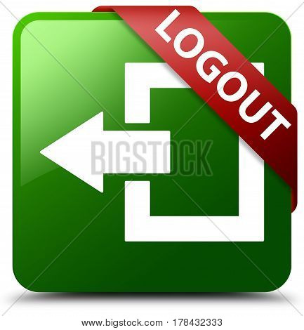 Logout Green Square Button Red Ribbon In Corner