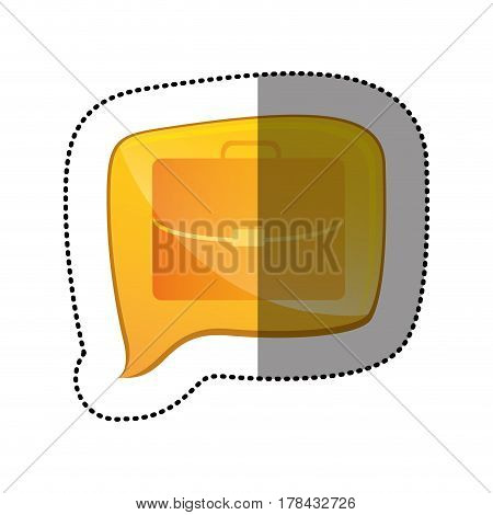 color sticker with executive suitcase icon in square speech vector illustration