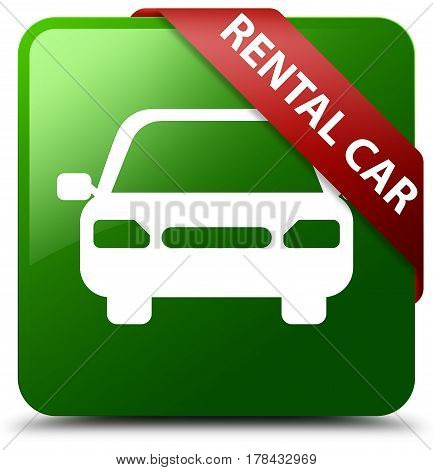 Rental Car Green Square Button Red Ribbon In Corner