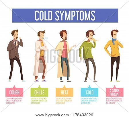 Flu cold or seasonal influenza symptoms flat infographic poster men feel feverish chills cough sore throat vector illustration