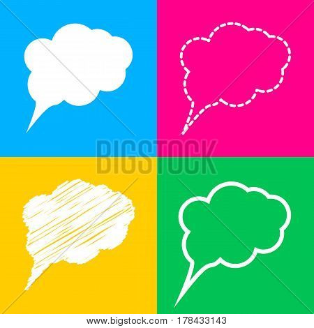 Speach bubble sign illustration. Four styles of icon on four color squares.