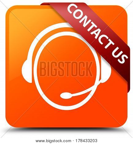 Contact Us (customer Care Icon) Orange Square Button Red Ribbon In Corner