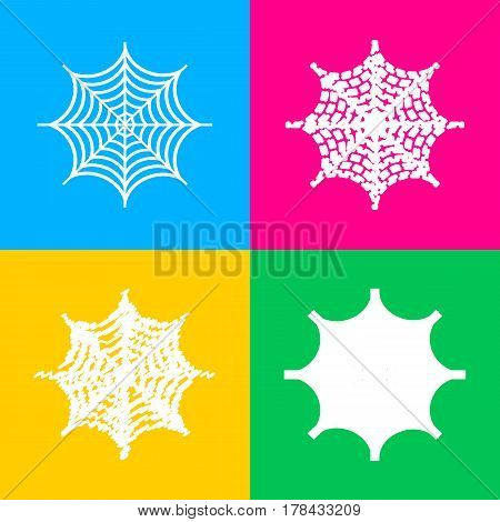 Spider on web illustration. Four styles of icon on four color squares.