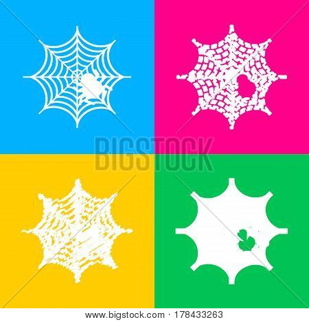 Spider on web illustration Four styles of icon on four color squares.