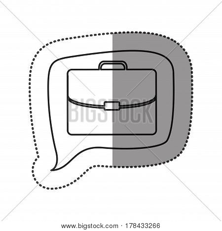 monochrome contour sticker with executive suitcase icon in square speech vector illustration