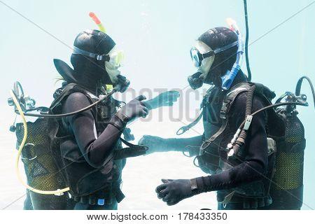 Couple on scuba training in swimming pool