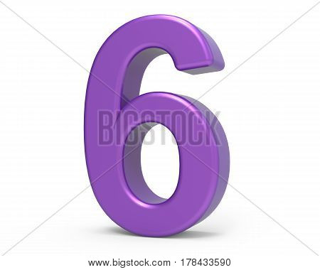 3D Purple Number 6