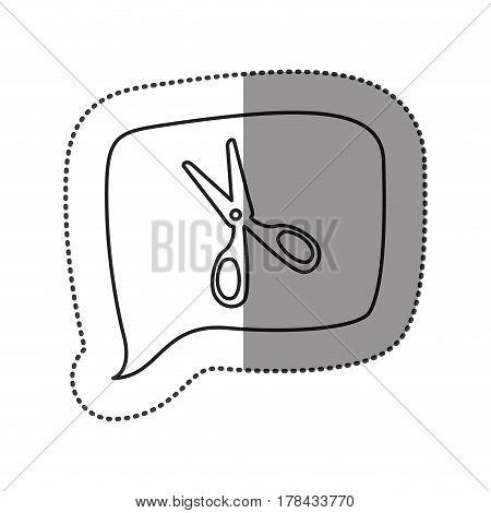 monochrome contour sticker with scissors icon in square speech vector illustration