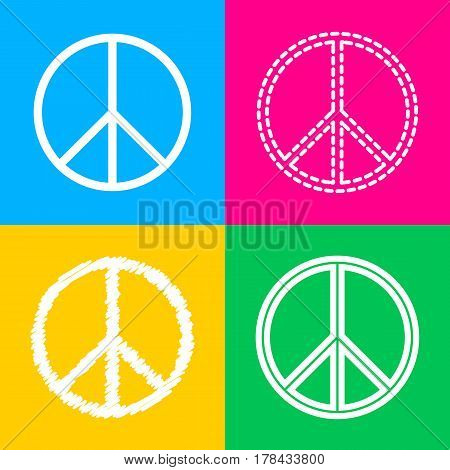 Peace sign illustration. Four styles of icon on four color squares.