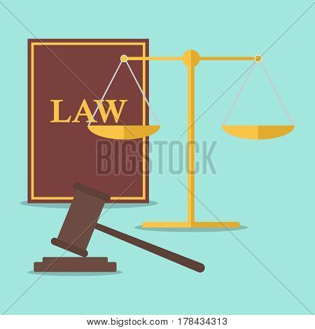 Scales and a hammer of the judge. Flat design vector illustration vector.