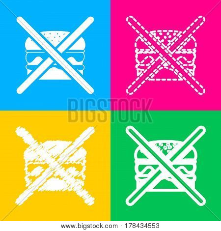 No burger sign. Four styles of icon on four color squares.