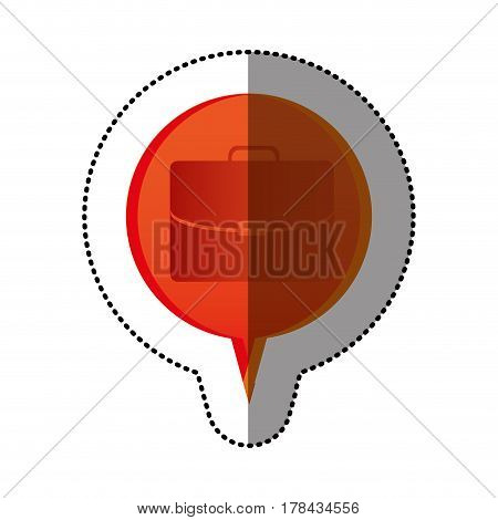color sticker with executive suitcase icon in circular speech vector illustration