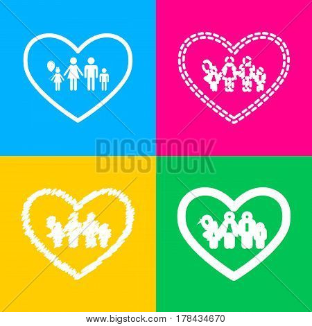 Family sign illustration in heart shape. Four styles of icon on four color squares.