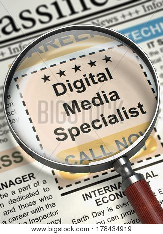 Digital Media Specialist - Close View Of A Classifieds Through Magnifier. Newspaper with Small Advertising Digital Media Specialist. Job Seeking Concept. Blurred Image. 3D Render. poster