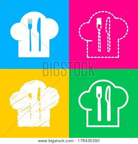 Chef hat and spoon, fork, knife sign. Four styles of icon on four color squares.