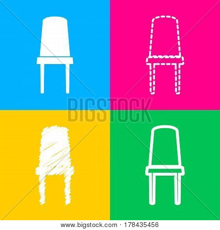 Office chair sign. Four styles of icon on four color squares.