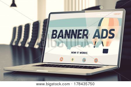 Banner Ads on Landing Page of Mobile Computer Screen. Closeup View. Modern Meeting Room Background. Blurred. Toned Image. 3D.
