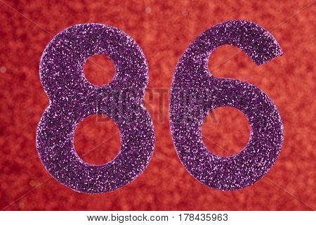 Number eighty-six purple color over a red background. Anniversary. Horizontal