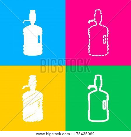 Plastic bottle silhouette with water and siphon. Four styles of icon on four color squares.