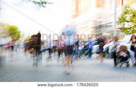 Blurred image of people walking in the Knightsbridge. Modern life concept. London, UK