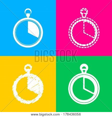 The 20 seconds, minutes stopwatch sign. Four styles of icon on four color squares.