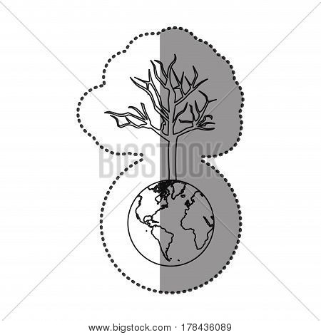 monochrome sticker of world with tree without leafs vector illustration